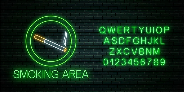 Glowing neon sign of smoking area with alphabet. smoke cigarettes site. signboard of smoking place.