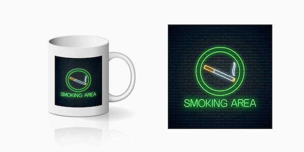 Glowing neon sign of smoking place for cup design