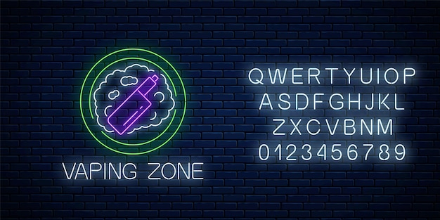 Glowing neon sign of vaping zone with alphabet on dark brick wall background. vape kit area symbol. signboard of smoking place. vector illustration.