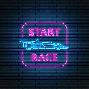 Glowing neon sign with racing car side view and start race text in rectangle frame. abstract symbol of new project logo