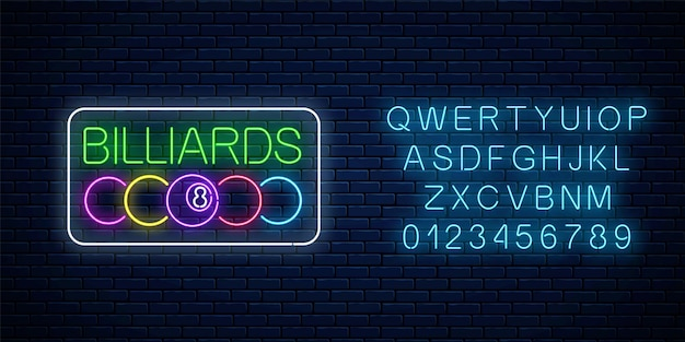 Glowing neon signboard of bar with billiards with alphabet. billiard balls with text in rectangle frame. night advertising symbol of taproom with pool game. vector illustration.