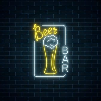Glowing neon signboard of beer bar in rectangle frame on dark brick wall background.