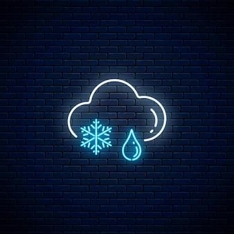 雨の天気アイコンで輝くネオン雪。天気予報にネオンスタイルの雲と雪の結晶と雨滴のシンボル