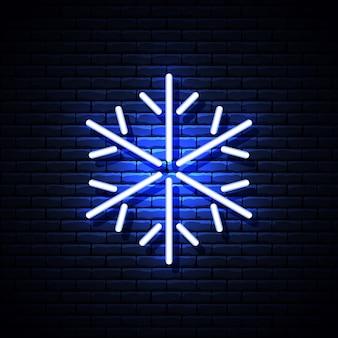 Светящиеся неоновые снежинки на кирпичной стене. иллюстрации.