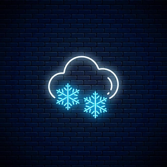 Glowing neon snowy weather icon. snowflake symbol with cloud in neon style to weather forecast in mobile application