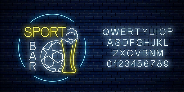 Glowing neon sport bar sign with alphabet on dark brick wall background. soccer ball with glass of beer as pub with live sport broadcast signboard. vector illustration.