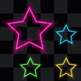 Набор из четырех светящихся неоновых звезд