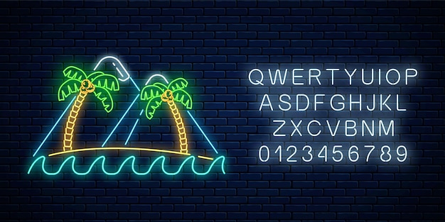 Glowing neon summer sign with two palms