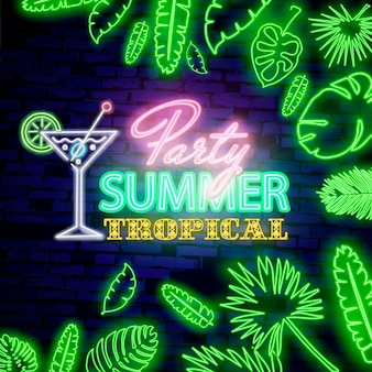 Glowing neon summer tropical party sign with neon tropical exotic leaves on dark brick wall background.