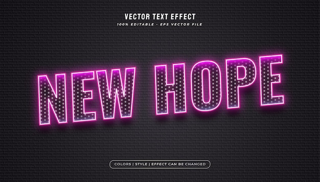 Glowing neon text style with halftone texture effect