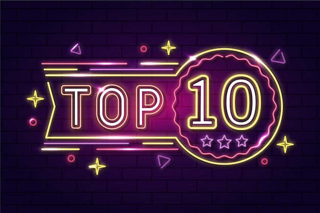 Glowing neon top ten sign