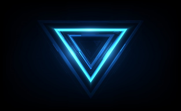 Glowing neon triangle on dark background