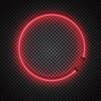 Glowing neon tube circle frame