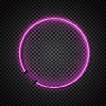 어두운 투명 배경에 빛나는 네온 튜브 원형 프레임.
