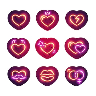Glowing neon valentine hearts sticker pack