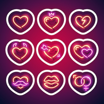 Glowing neon valentine hearts sticker with stroke