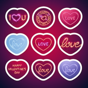 Glowing neon valentine signs sticker pack with stroke