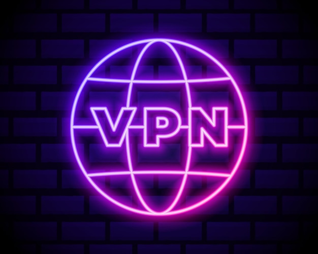 Glowing neon vpn network connection icon isolated on dark brick wall  . social technology. cloud computing concept.