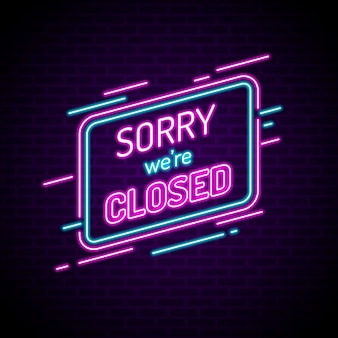 빛나는 네온 we are closed sign