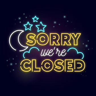 Glowing neon we are closed sign Free Vector