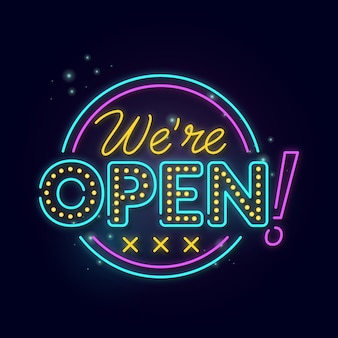Glowing neon we are open sign