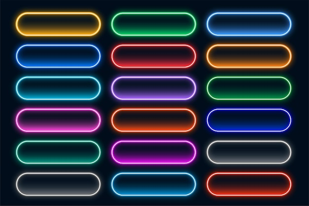 Collezione di pulsanti web al neon incandescente
