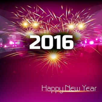 Glowing new year 2016 card with fireworks