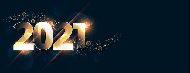 Bandiera di celebrazione del nuovo anno 2021 incandescente