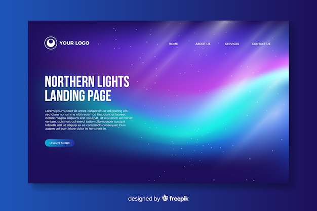 Glowing northern lights landing page