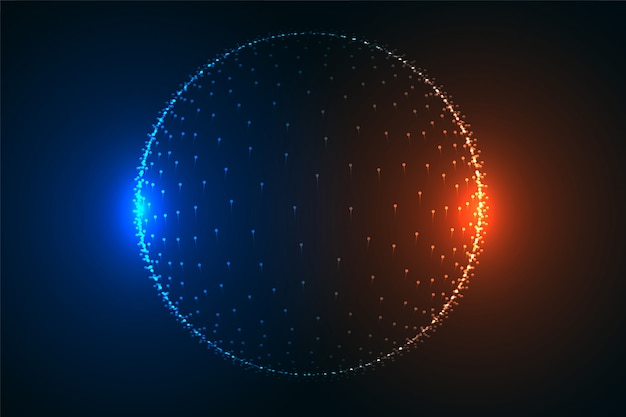 Glowing particle sphere in two light colors