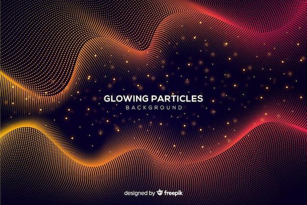 Glowing particles wavy background