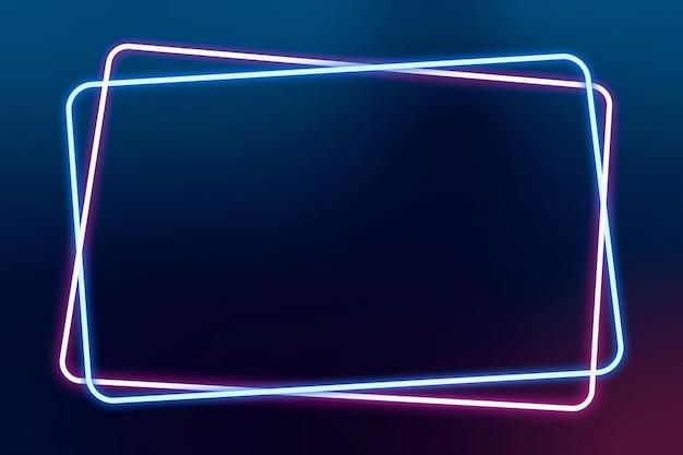빛나는 핑크와 블루 네온 프레임