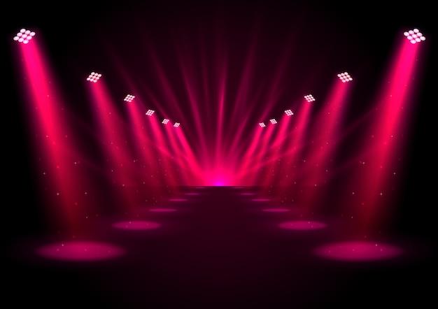 Glowing pink spotlights