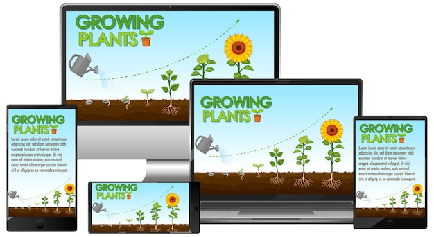 컴퓨터 화면에 빛나는 식물