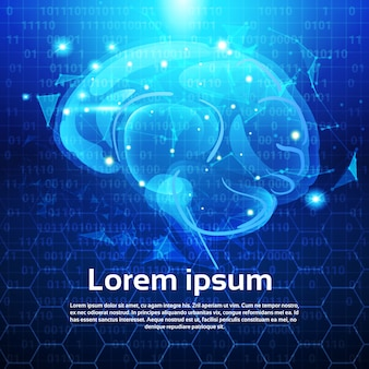 Glowing polygonal human brain over abstract low poly blue background with copy space