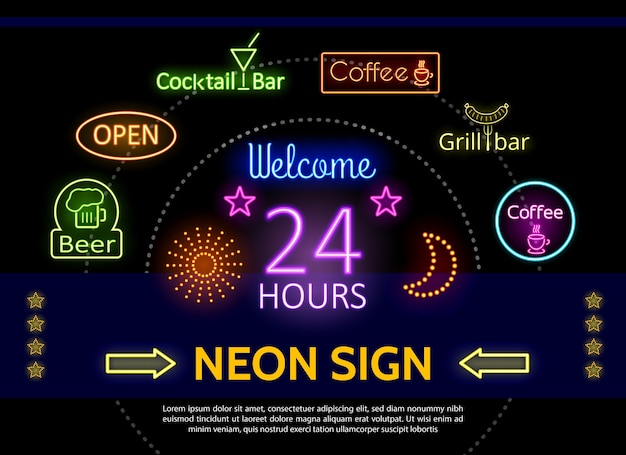 Glowing promotional neon signs template