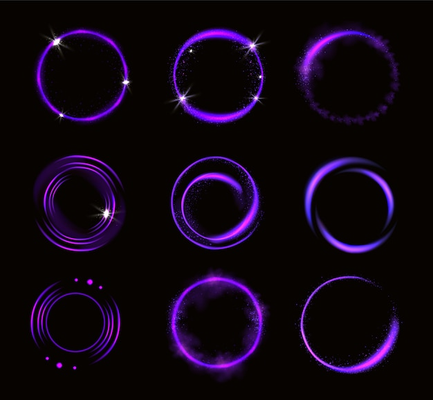 Glowing purple circles with sparkles, round frames, shiny borders with glitter or fairy dust, glow rings, fantasy design elements isolated  realistic 3d vector illustration, set