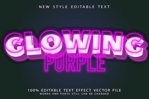 Glowing purple editable text effect emboss neon style