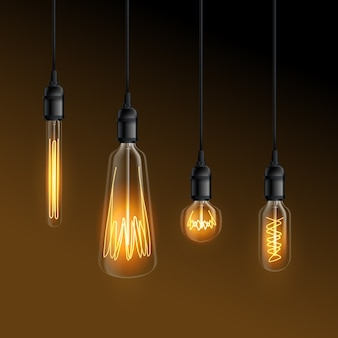 Glowing realistic light bulbs