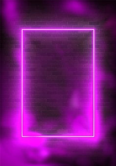 Glowing rectangle neon illustration lighting frame with purple