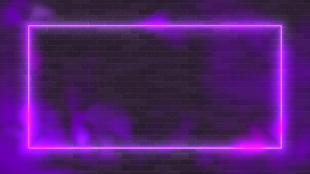 Glowing rectangle neon vector illustration lighting frame with purple background.