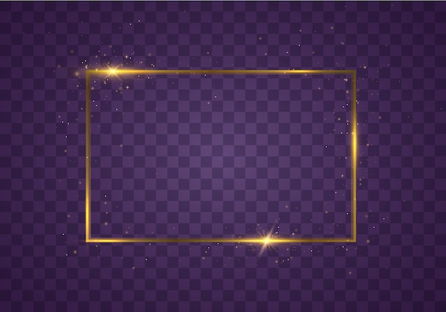 Glowing rectangular frame with lights effects. golden luxury rectangle border.