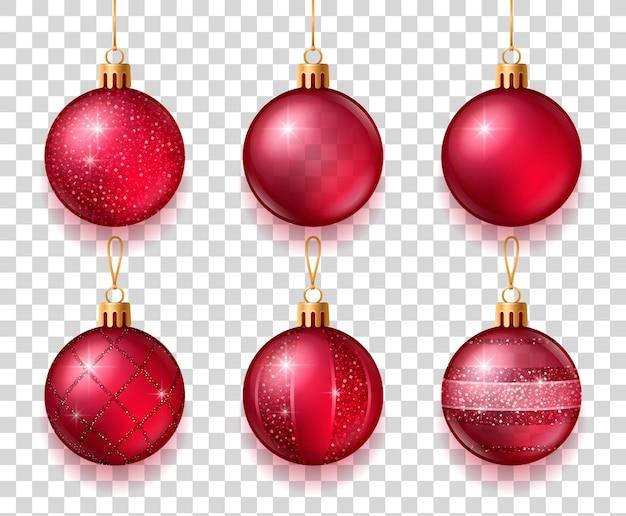 Светящиеся красные елочные шары изолированные