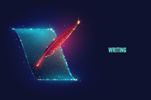 Glowing red feather write on blue sheet of paper vector illustration made of neon particles. bright magic content writing art in modern abstract style consists of colorful dots.