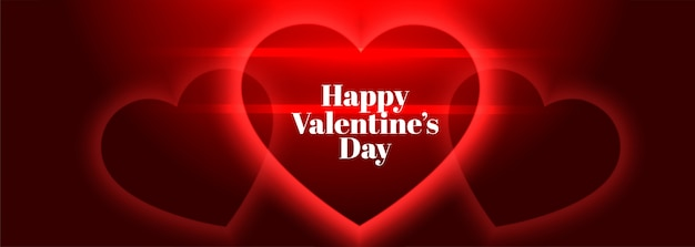 Glowing red hearts happy valentines day banner
