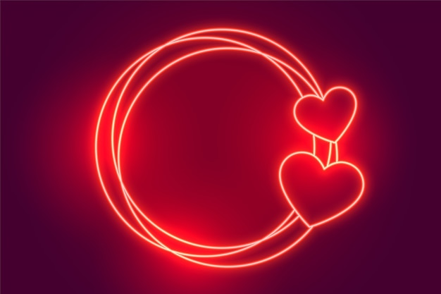 Glowing red neon hearts frame background