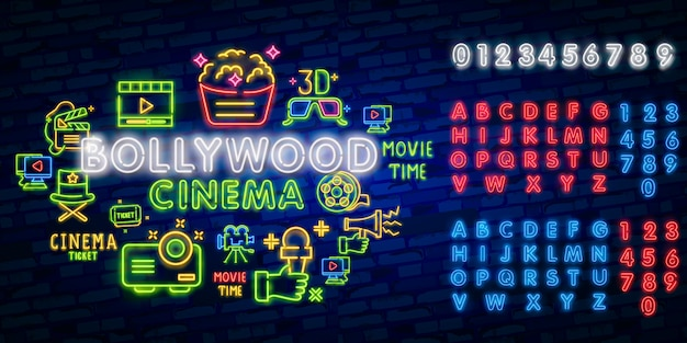 Glowing retro indian cinema neon sign