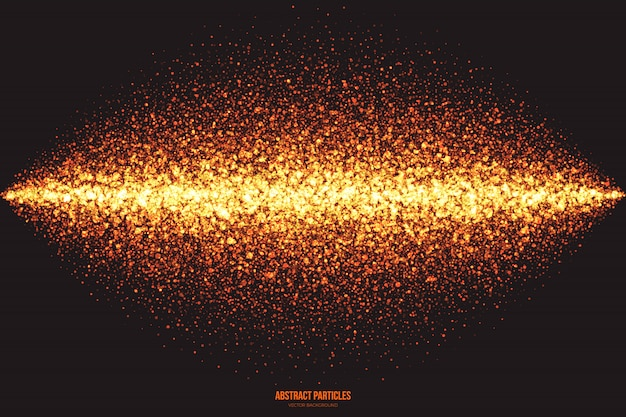 Glowing round particles abstract vector background