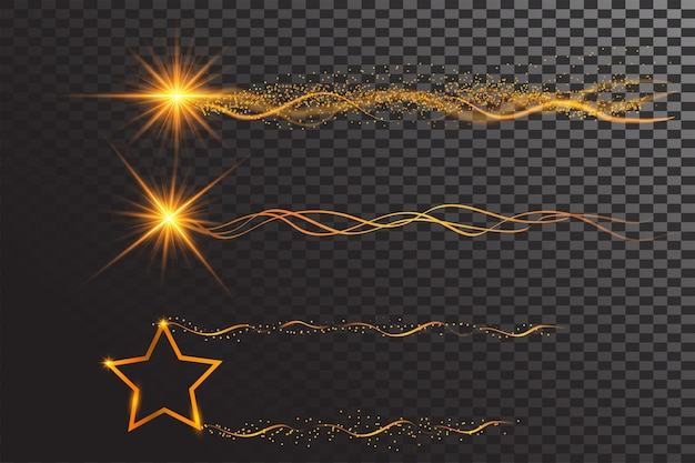 Glowing shining star and ribbon wave in golden color