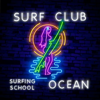 Glowing sign for surf club or shop in neon style